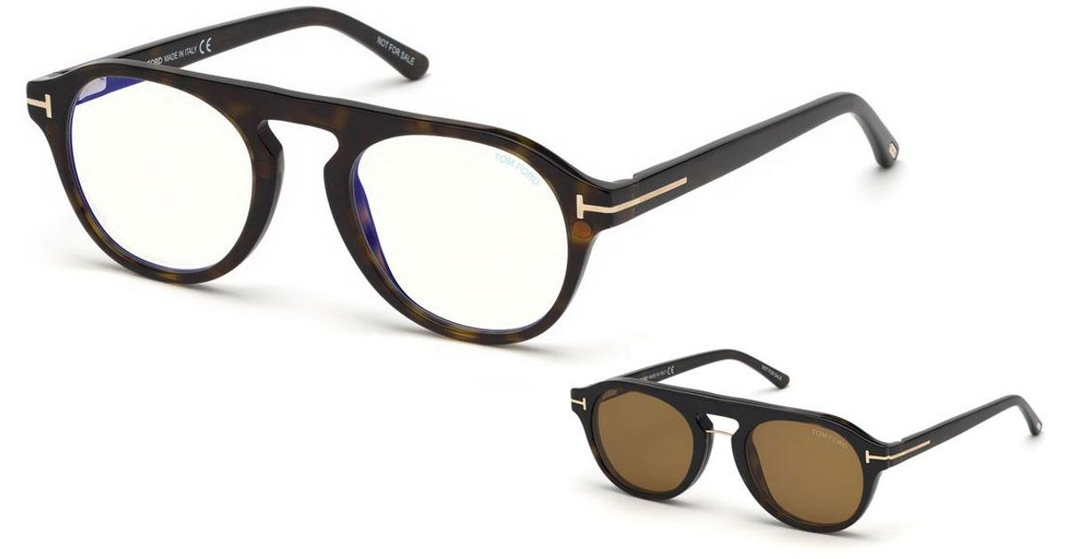 5e969615113e Lyst - Tom Ford Men s Round Optical Glasses W  Magnetic Clip On Blue-block  Shade in Brown for Men