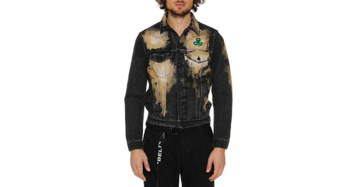 fdd923a5ca61 Lyst - Off-White c o Virgil Abloh Men s Distressed Spots-washed Slim Denim  Jacket in Gray for Men