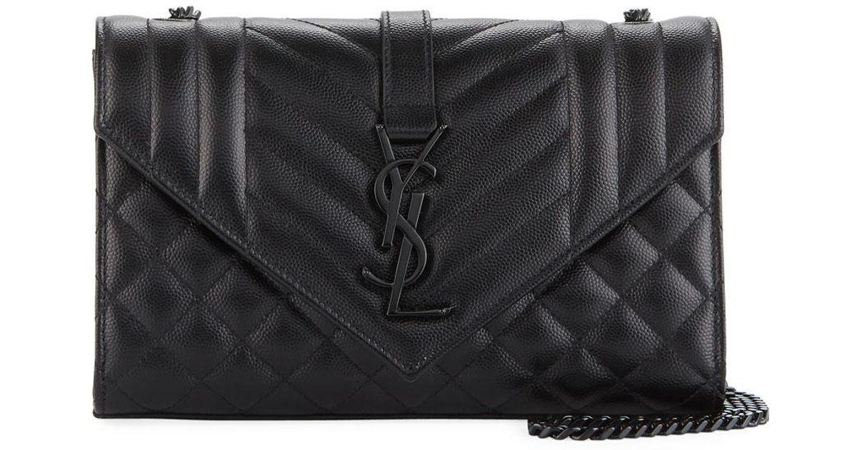 77ff575e8a96 Lyst - Saint Laurent Monogram Ysl Envelope Small Chain Shoulder Bag - Black  Hardware in Black