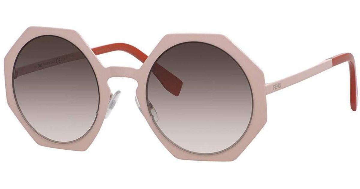 af21bd99eee Fendi Metal-rimmed Octagon Sunglasses in Pink - Lyst