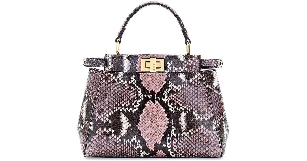 Lyst - Fendi Peekaboo Mini Python Satchel Tote Bag in Pink 442007cd5a405