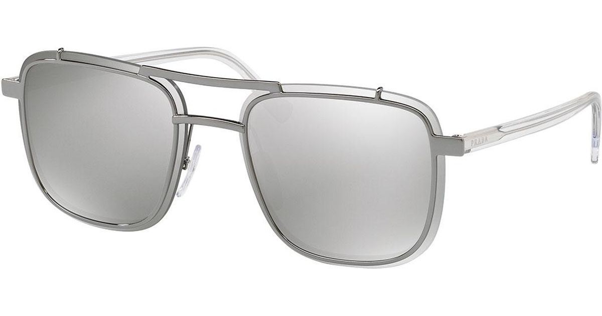 53bbf5d8147 Lyst - Prada Men s Double-bridge Square Mirrored Sunglasses in Gray for Men