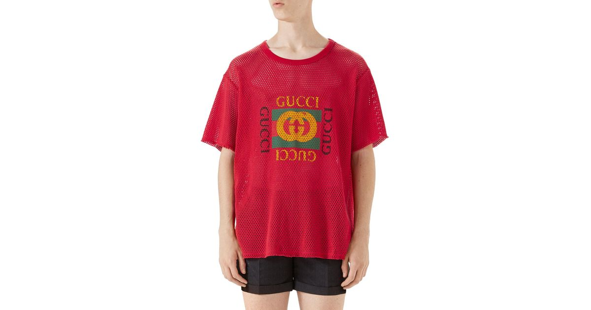 be5389da9 Gucci Mesh Short-sleeve Tee in Red for Men - Lyst