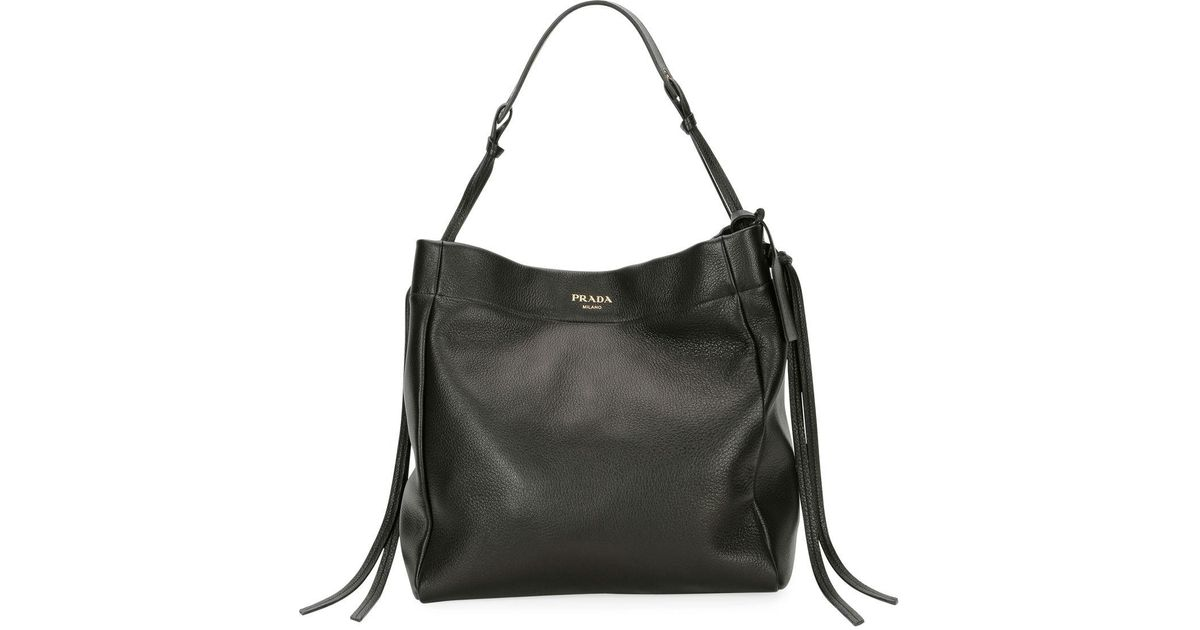 b644270a2b14 Lyst - Prada Cervo Hobo Shoulder Bag in Black