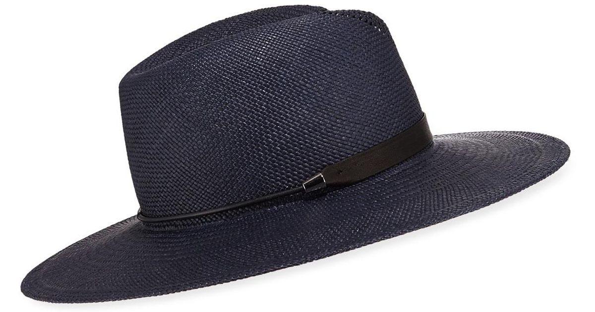 a5d932e29fe52b Lyst - Rag & Bone Zoe Straw Fedora Hat in Blue