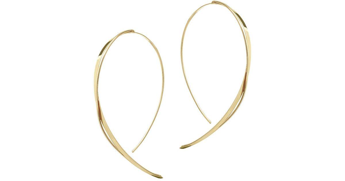 5489f36c2003ca Lana Jewelry Fifteen 14k Gold Small Upside Down Twist Hooked On Hoop  Earrings in Metallic - Lyst