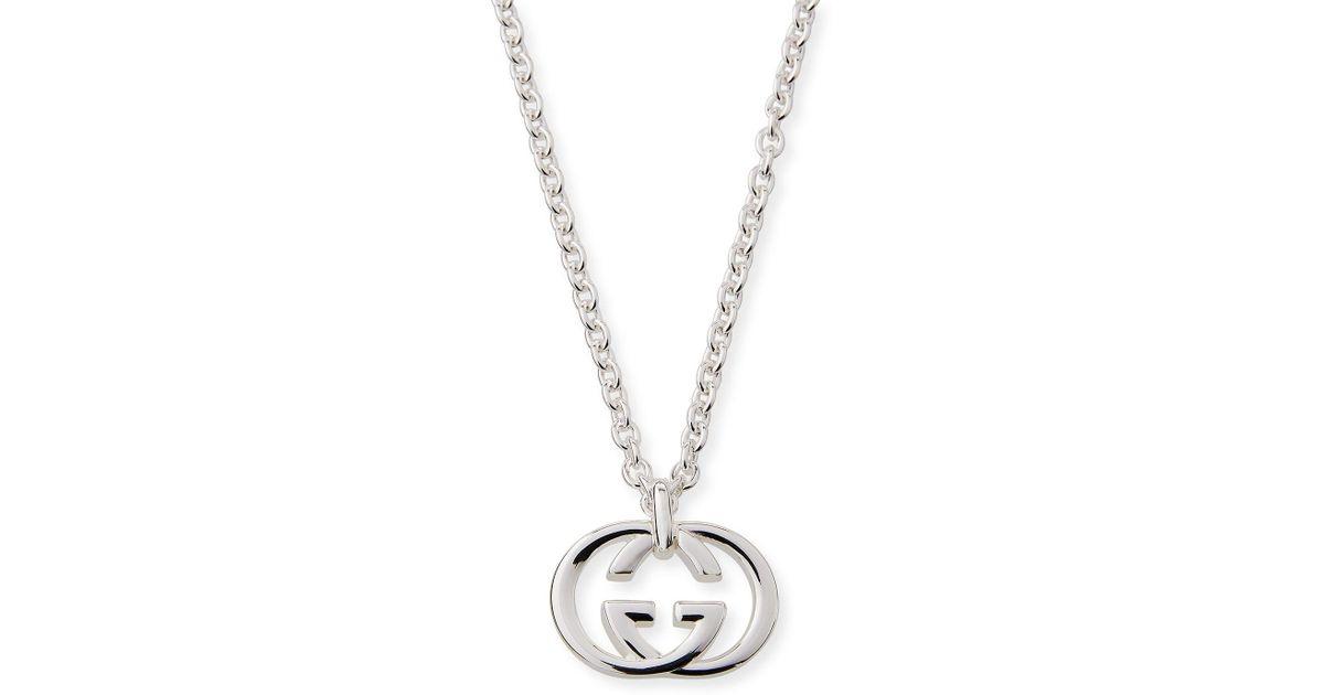 d2e5f1870 Gucci Men's Britt Interlocking Gg Pendant Necklace in Metallic for Men -  Lyst