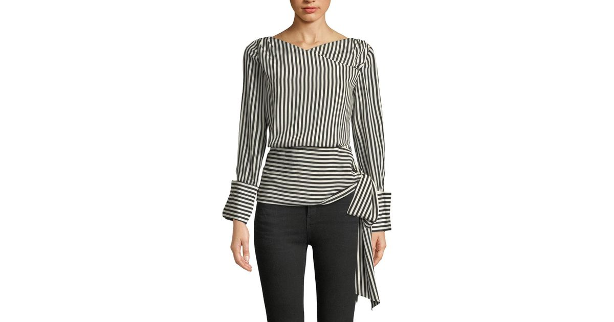 ed45b19bfa903 Lyst - Alice + Olivia Alba Crossover Striped Tie-waist Silk Blouse in Black
