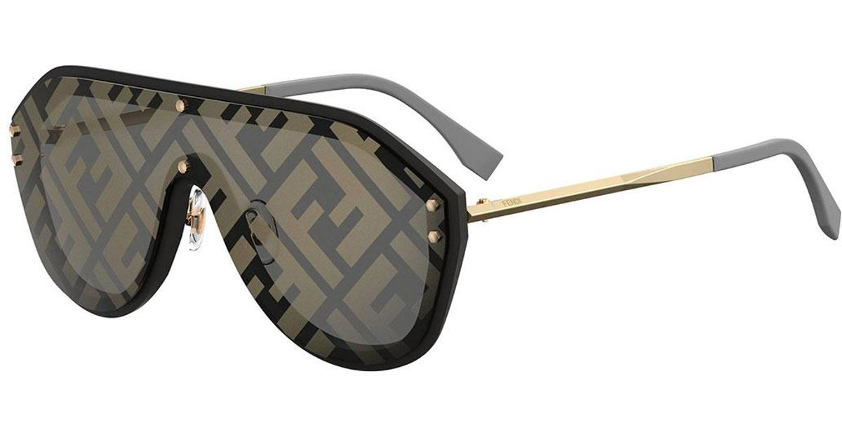 c6a19061b4 Fendi Ff Shield Sunglasses in Metallic - Lyst