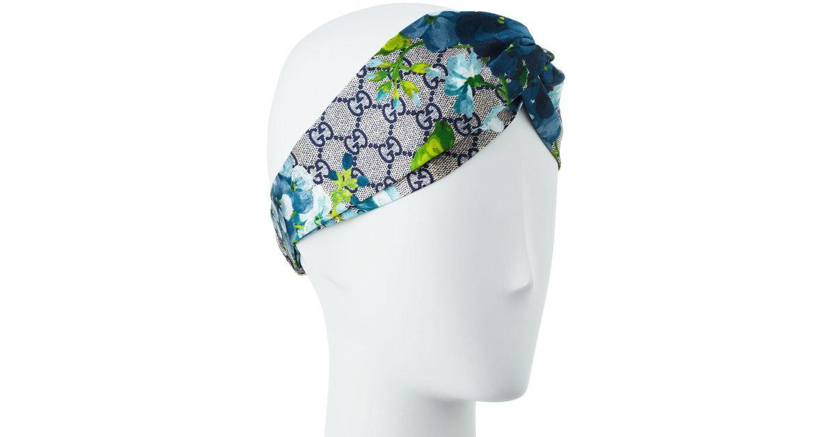 e2d17a26d25 Lyst - Gucci Gg Blooms Silk Headband in Blue