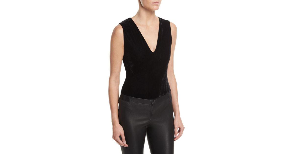 cb9922982b129 Lyst - Alice + Olivia Marley V-neck Sleeveless Velvet Bodysuit in Black