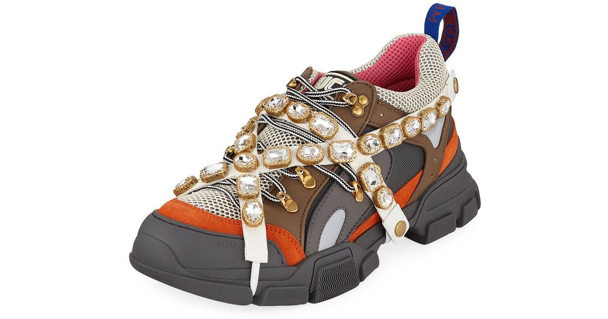a2c2e82b1ae02 Lyst - Gucci Men s Leather And Canvas Sneakers With Removable Crystals for  Men