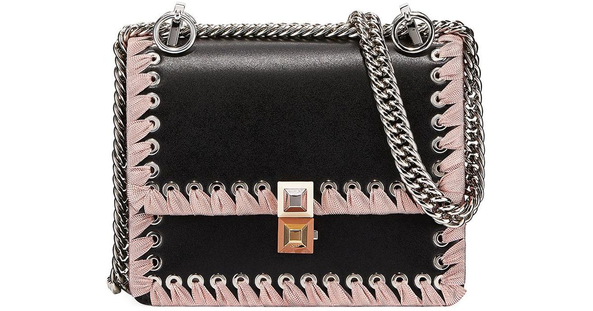278f49de94 Lyst - Fendi Kan I Ribbon Whipstitch Small Shoulder Bag in Black - Save 50%