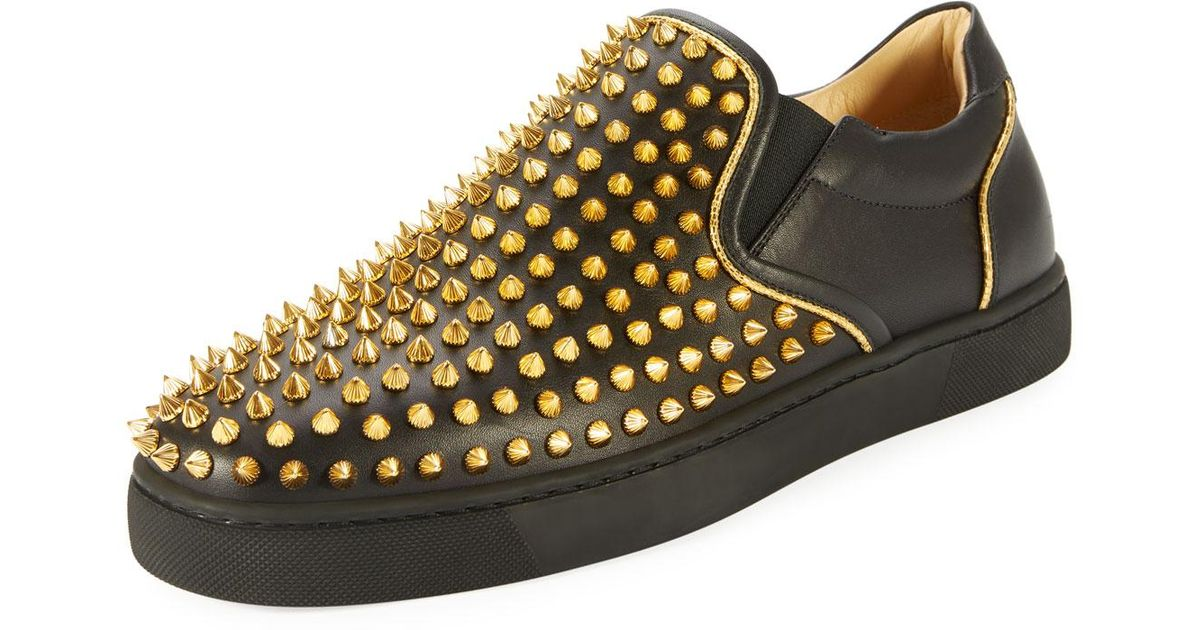 0005b130027 netherlands black christian louboutin roller boat spikes flat leather 8e75d  13a36  50% off lyst christian louboutin sailor boat spikes mens slip on  sneaker ...