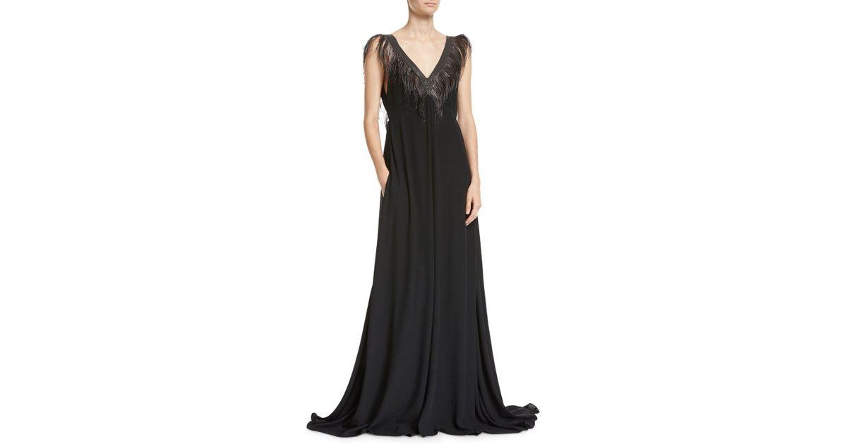 622085cdcd7 Lyst - Brunello Cucinelli Feather   Monili V-neck Silk Evening Gown in Black