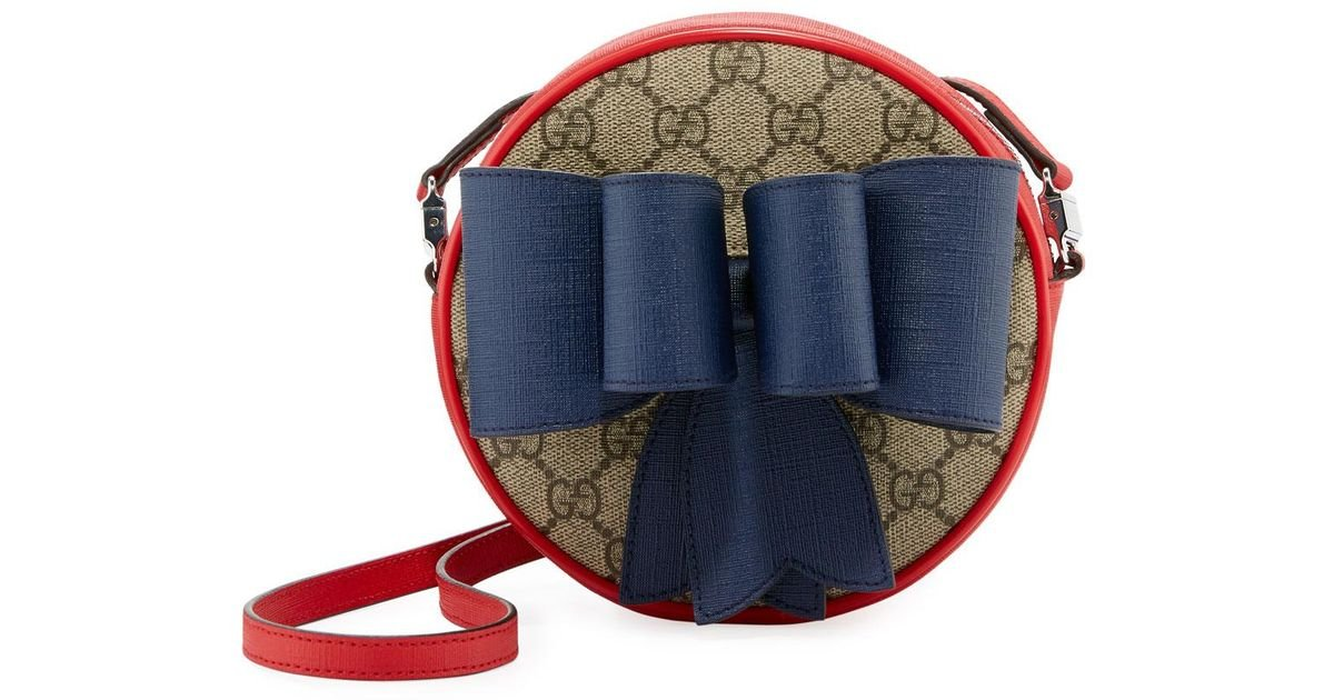 4e053765bc1d Gucci Kids' Gg Supreme Canvas Crossbody Bag W/ Bow Detail in Natural - Lyst