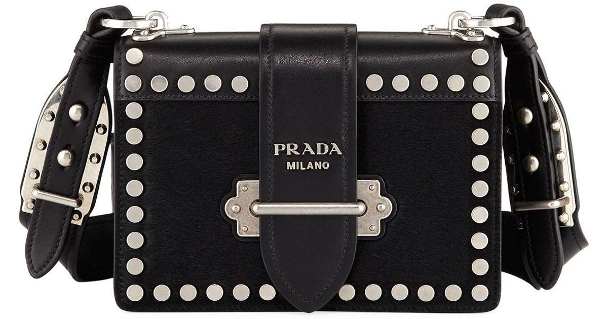 e3c18d7d6e7f Prada Cahier Small Calf Hair Shoulder Bag in Black - Lyst