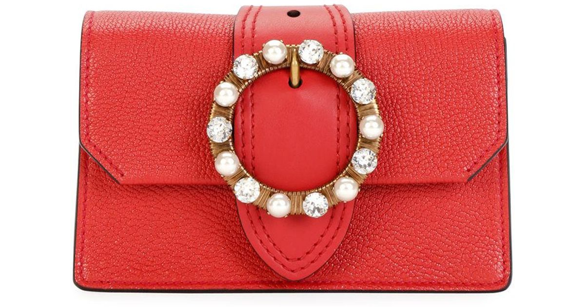 Lyst - Miu Miu Madras Jewels Leather Buckle Clutch Bag in Red 35035e95f400e