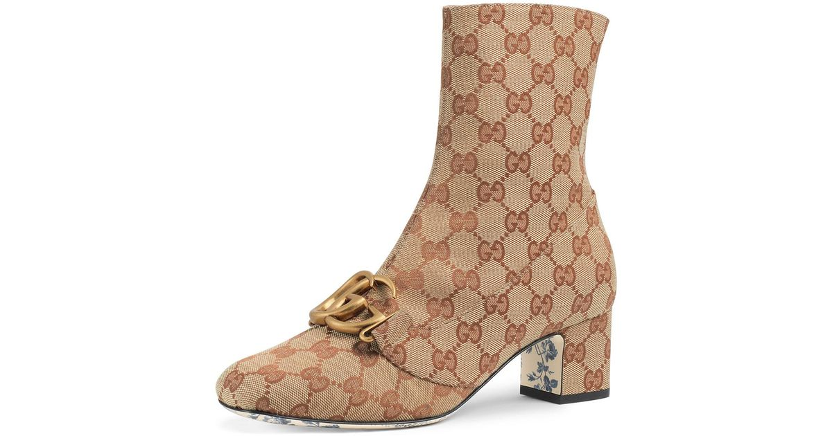 91abd64fdaa Lyst - Gucci Victoire Monogram Bootie in Natural - Save 30%