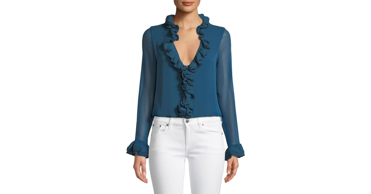 42f36587836abc Lyst - Elie Tahari Chandana Ruffled V-neck Long-sleeve Silk Blouse in Blue