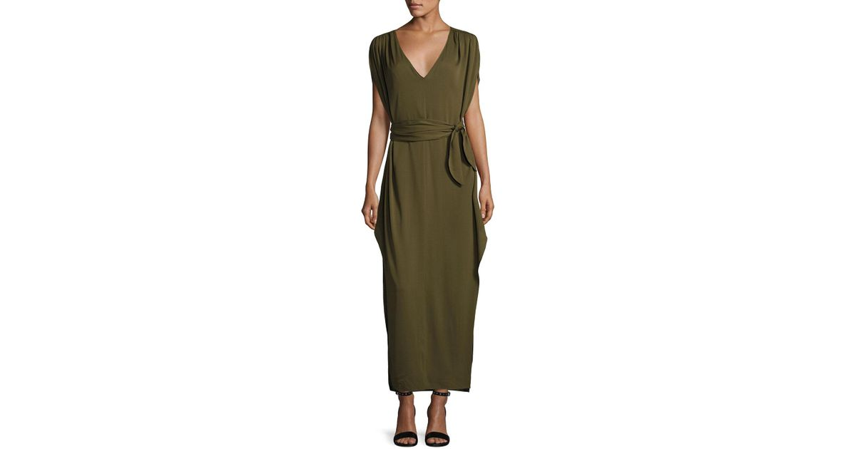 62461365a97e Lyst - Halston Flowy Deep V-neck Silk Georgette Maxi Dress in Green