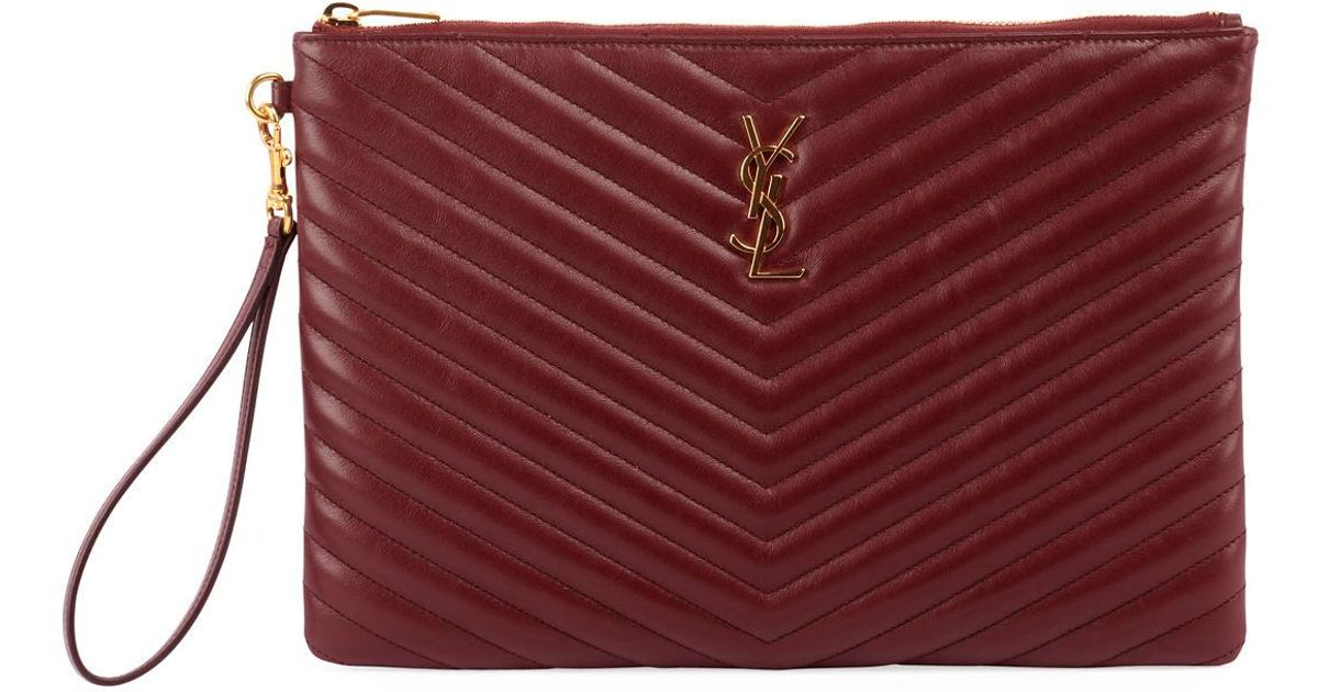 brand new discount casual shoes Saint Laurent Red Monogram Ysl Quilted Leather Tablet Pouch Bag