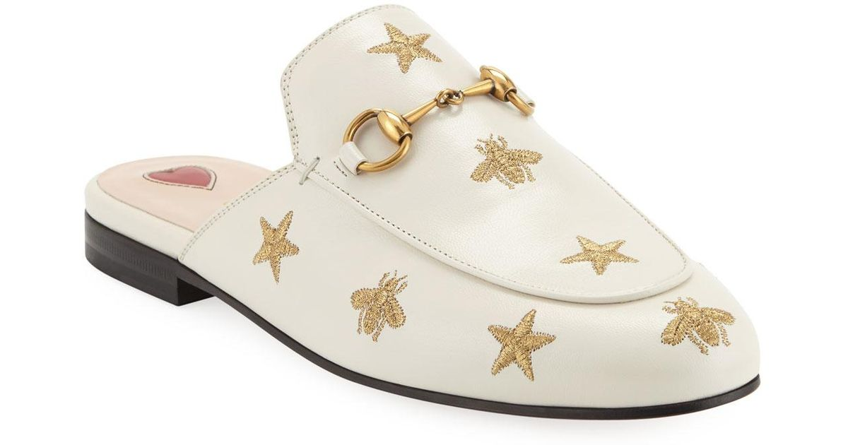 51029fa8f12 Gucci Flat Princetown Bee   Star Mule in White - Lyst