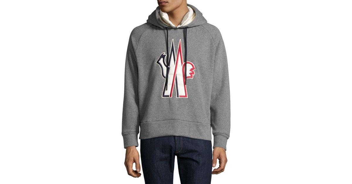 f63438ba39f1 Lyst - Moncler Grenoble Logo Popover Hoody in Gray for Men - Save 32%