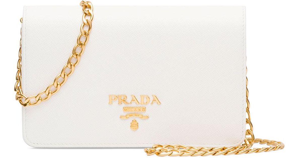 f3eab7dcc31e Lyst - Prada Saffiano Lux Crossbody Bag in Metallic