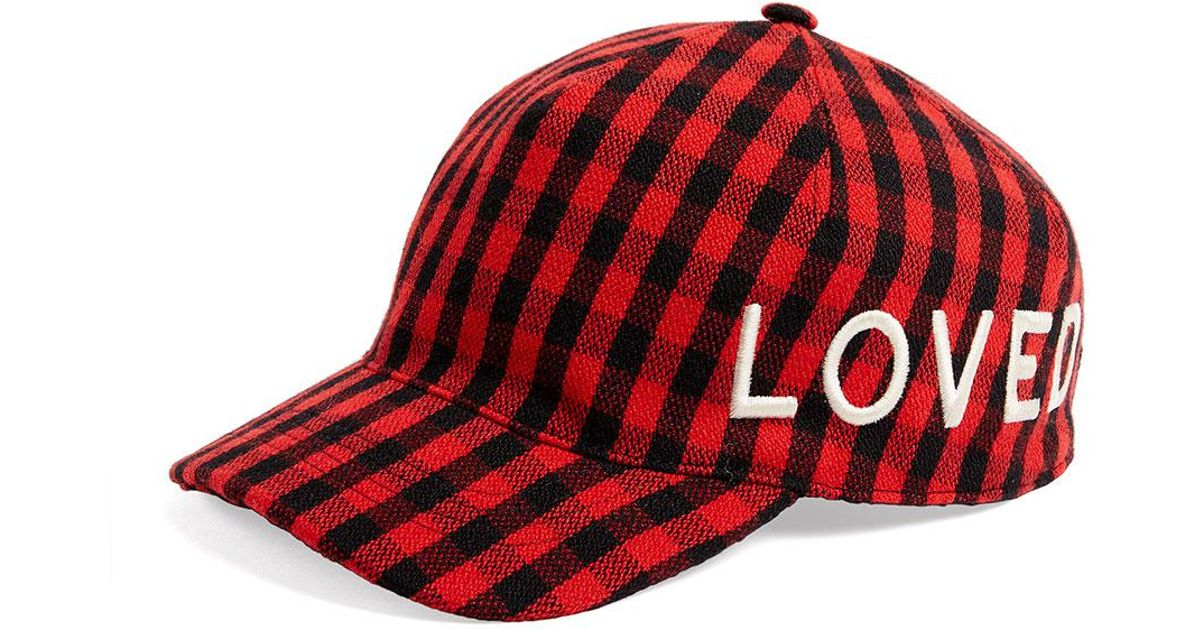 Lyst - Gucci Loved Check Flannel Baseball Hat in Red c04b9532319