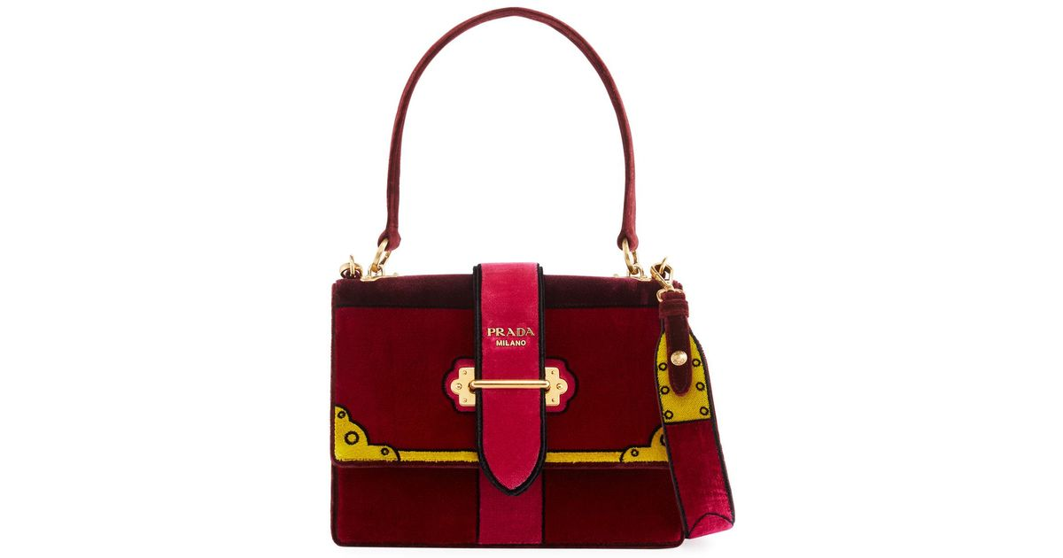 7aede97a1de6 Prada Trompe L'oeil Velvet Cahier Buckle Bag - Lyst