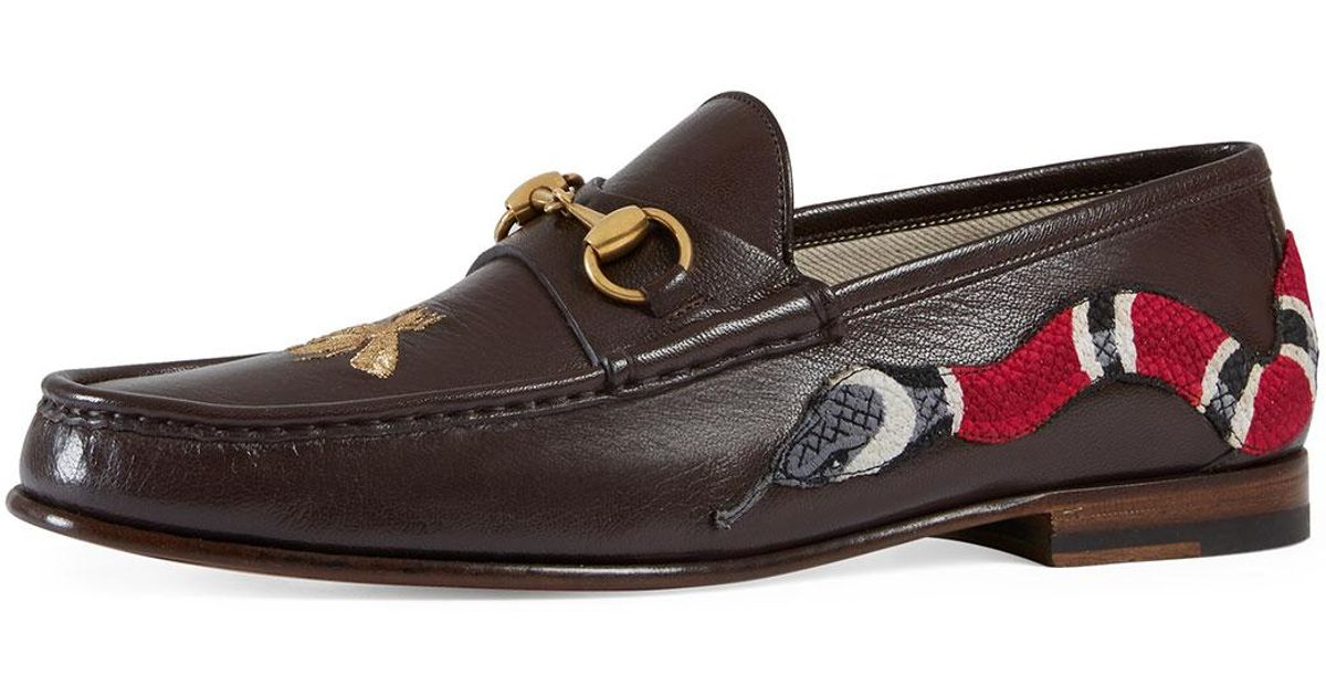 015a76b066a2 Lyst - Gucci Roos Leather Moccasin Loafer With Snake in Brown for Men