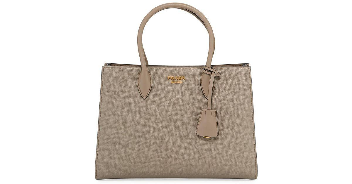 709986a670 ... ebay lyst prada large bicolor saffiano side pleat tote bag in brown  save 4.9122807017543835 9f956 99496