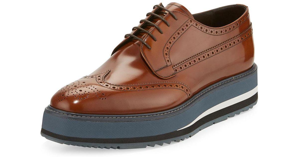 4cb39e45299 Lyst - Prada Men s Spazzolato Creeper Brogue Platform Shoe in Brown for Men