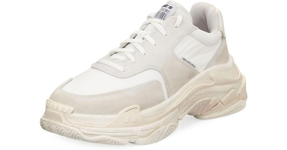 03d0fd12501c Lyst - Balenciaga Men s Triple S Tonal Leather Sneakers in White