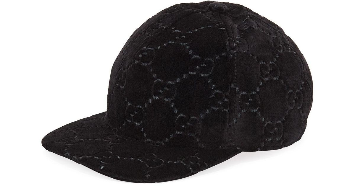 Lyst - Gucci GG Supreme Velvet Baseball Hat in Black 578c0074204