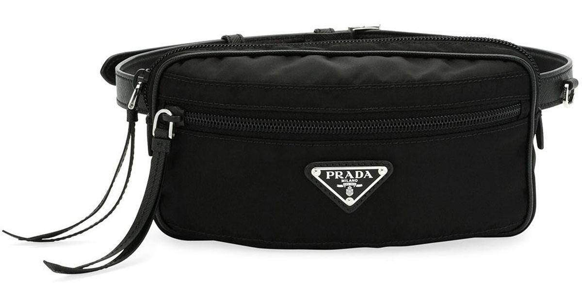 db5390043293 ... order lyst prada nylon belt bag in black 961fd 22368