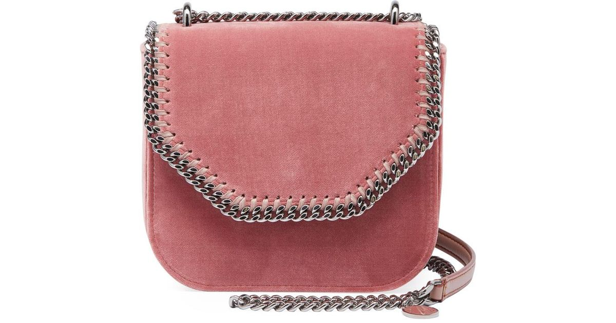 74c4a8ad842f Lyst - Stella McCartney Mini Falabella Box Velvet Chain Shoulder Bag in Pink