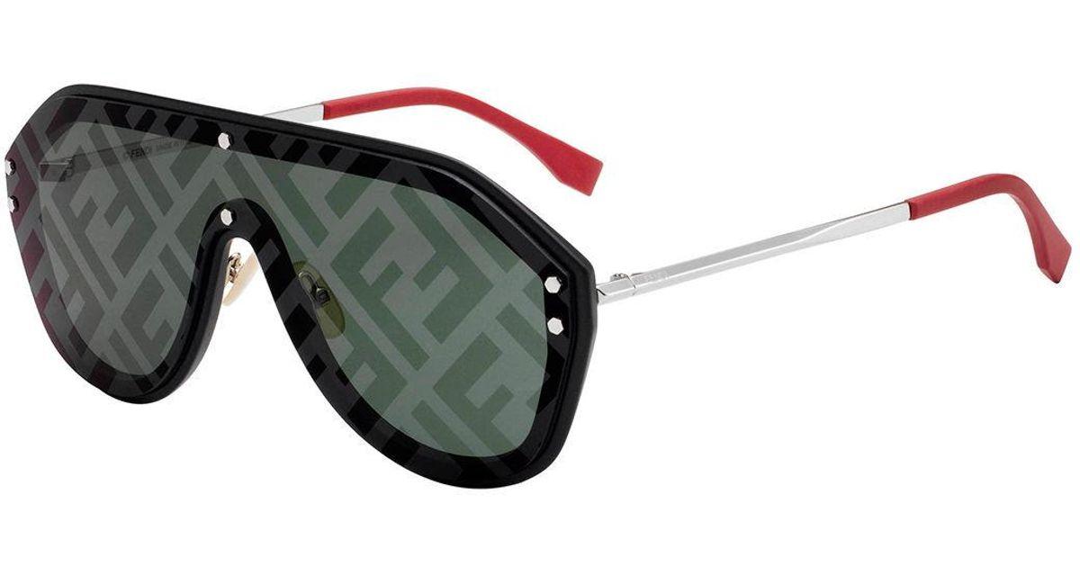 7099cd10fe Lyst - Fendi Men s Ff Shield Sunglasses in Green for Men