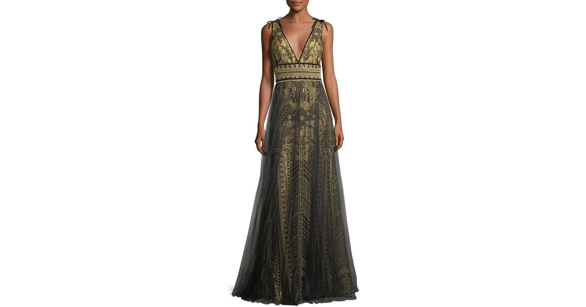 6e18315a812 Marchesa notte Tulle Overlay Sleeveless Embroidered Evening Gown in  Metallic - Lyst