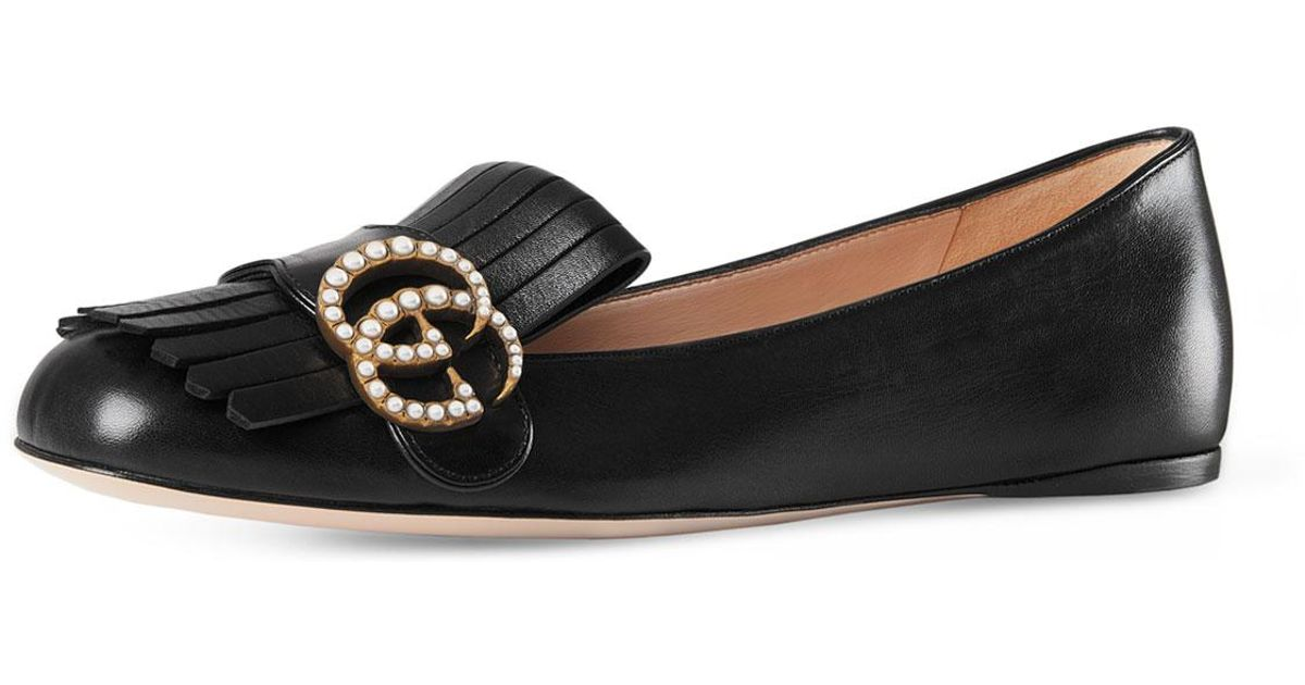 d4835f61083 Lyst - Gucci Marmont Pearly-gg Ballerina Flat in Black