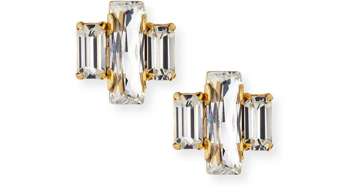 Auden Crystal Baguette Trio Stud Earrings 7OMkVnjZ0