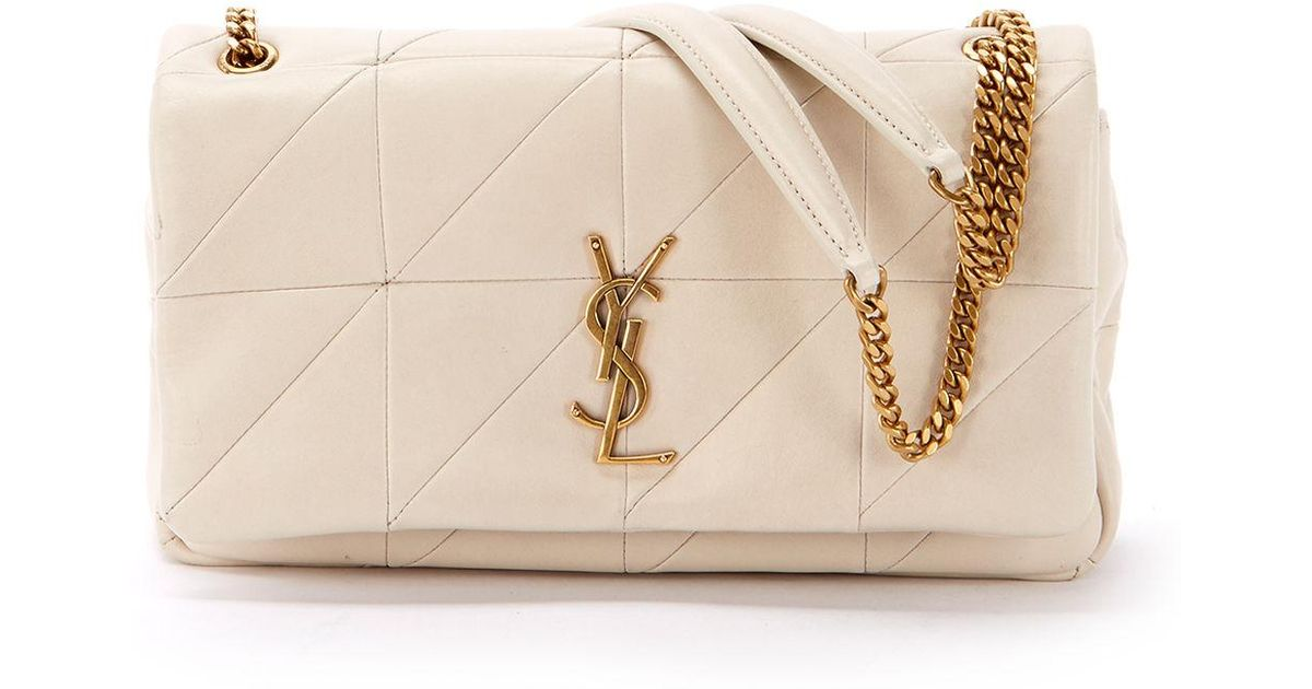 Lyst - Saint Laurent Jamie Medium Diamond-quilted Chain Shoulder Bag -  Bronze Hardware in White b2596a4f44655