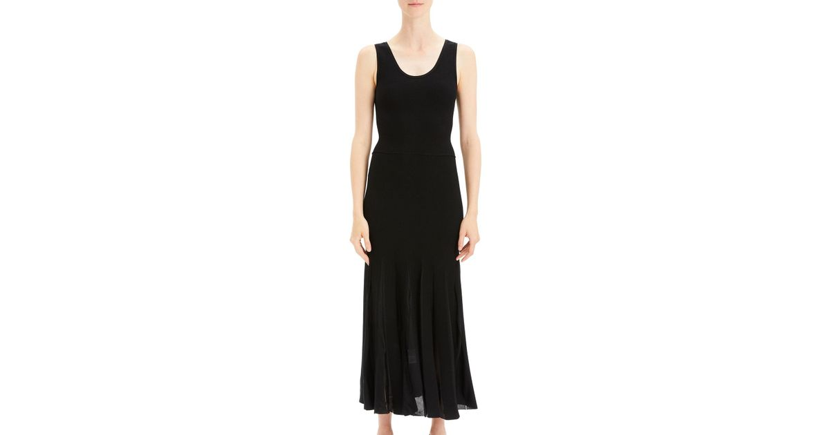 aef1809d80 Theory Pleated Scoop-neck Tank Dress in Black - Lyst