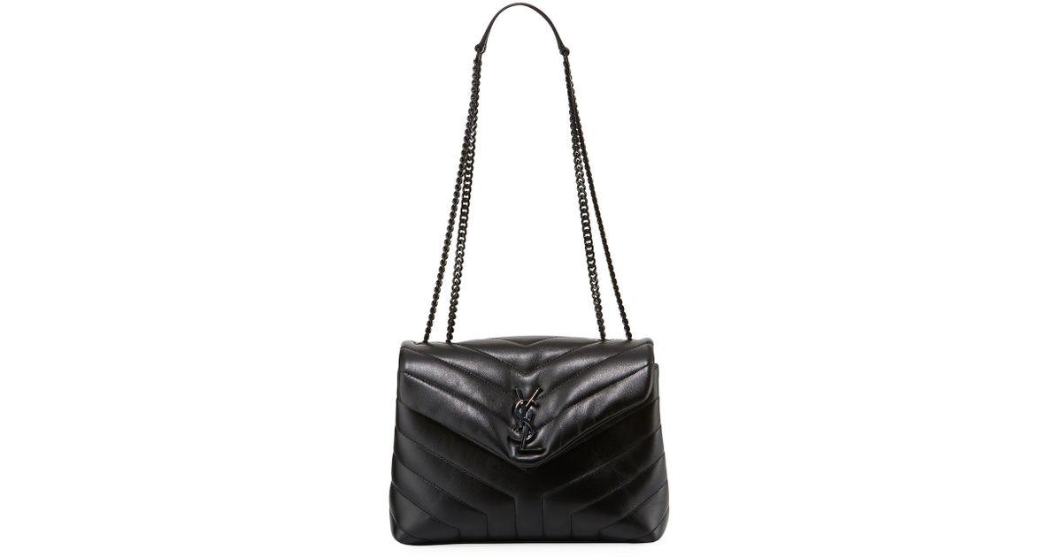 Lyst - Saint Laurent Monogram Ysl Loulou Small Chain Shoulder Bag in Black 5cd2a78716c6a