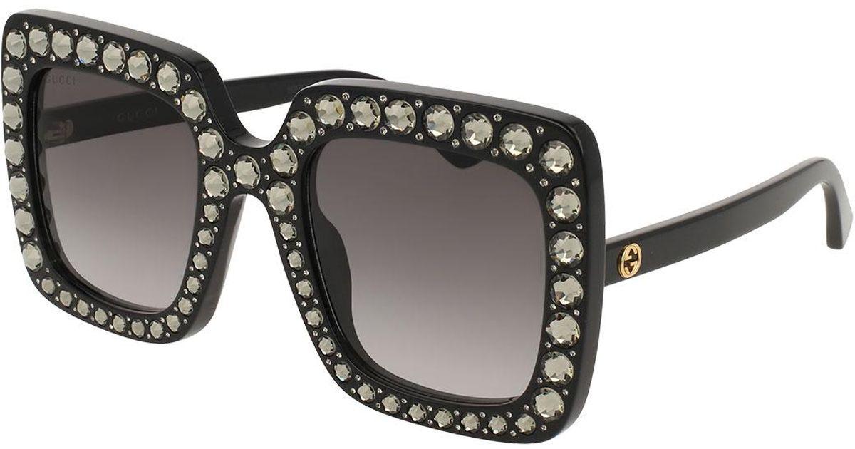152b3be6f5 Lyst - Gucci Square Swarovski® Sunglasses in Black