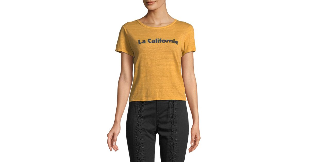 0dcdc58814bf Lyst - A.L.C. La Californie Graphic Crewneck Tee in Yellow