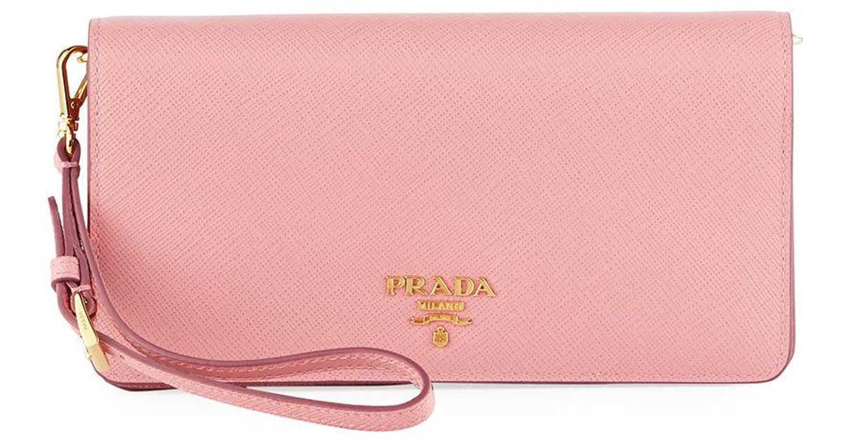 9f99b29422331a Prada Saffiano Flap Phone Wristlet Wallet W/ Crossbody Strap in Pink - Lyst