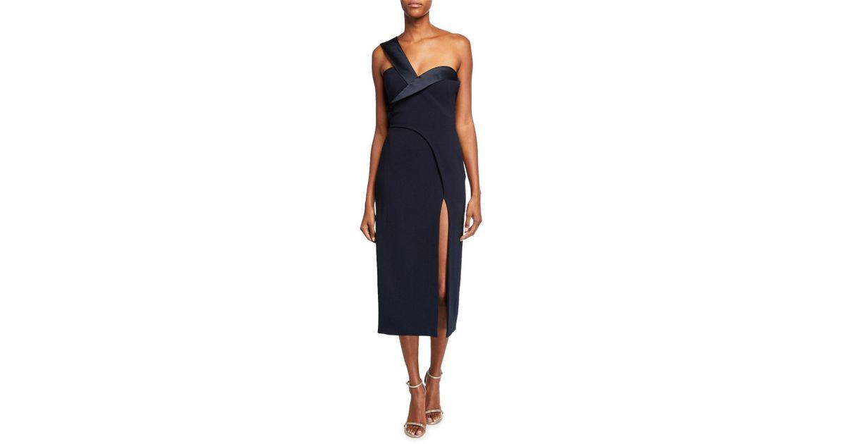 1ea3e85e522 Lyst - Brandon Maxwell One-shoulder Satin-trim Cocktail Dress in Blue