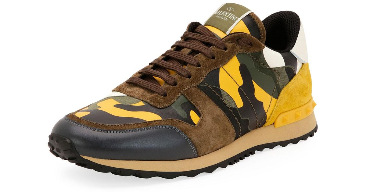 227d245dceef Lyst - Valentino Men s Rockrunner Camo Leather Sneaker for Men